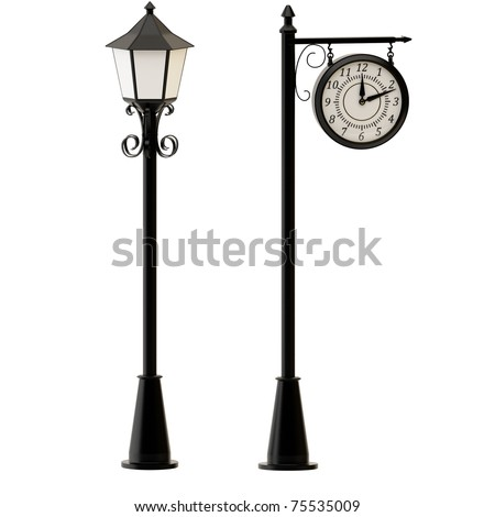 Street lamppost and clocks isolated on white background. - stock photo