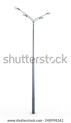 Street lamppost isolated on white background. 3d illustration. - stock photo