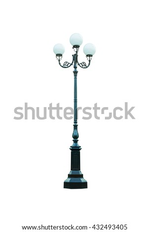 Street lamppost with one lamp black isolated on white background