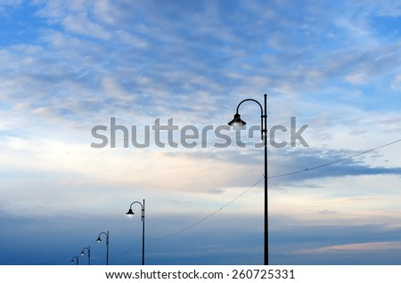 street lamps in the evening - stock photo