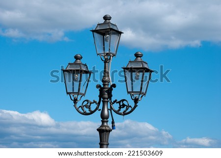 Street lamps iron classic ornamental - stock photo