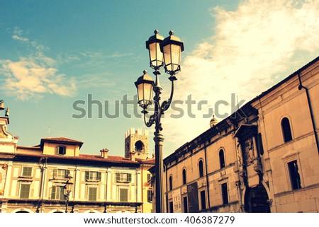 Street lantern in Brescia, Italy - stock photo