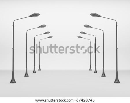 Street lanterns on a white background - stock photo