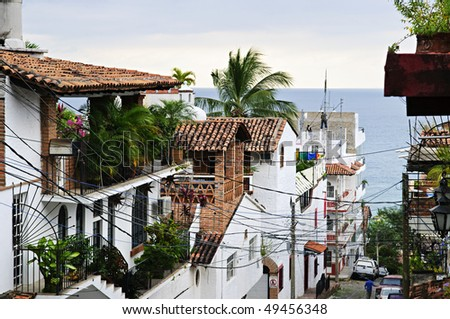 Street leading to Pacific ocean in Puerto Vallarta, Mexico - stock photo