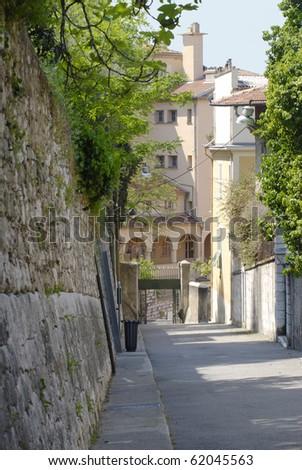 Street leading up to Parc de la Colline du Chateau in the Old Town of Nice. Cote d'Azur. France. - stock photo