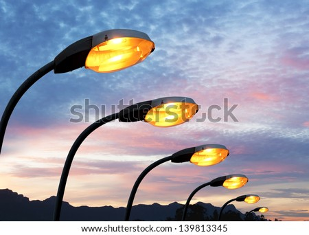 Street light against twilight background - stock photo