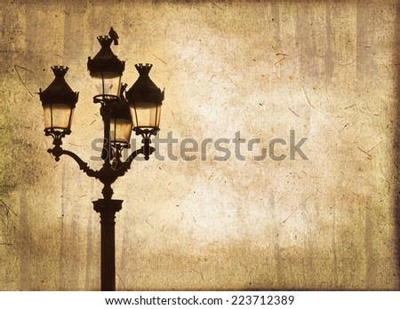 Street light at sunset, sepia vintage  background, Paris, France - stock photo