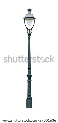 Street light lamp post isolated on white background
