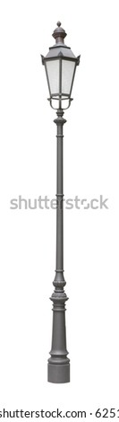 Street light of one bulb isolated on white background - stock photo