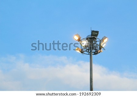 Street light on blue sky