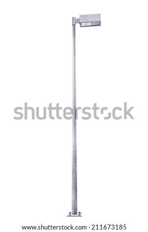 Street light pole isolated on white background. - stock photo