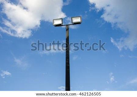 Street light pole with blue sky