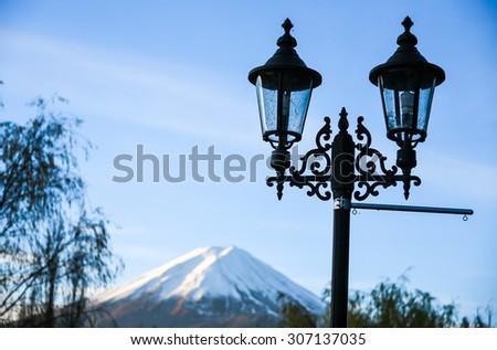 street light with Mt. Fuji background - stock photo