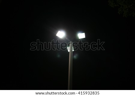 street lights at night - stock photo