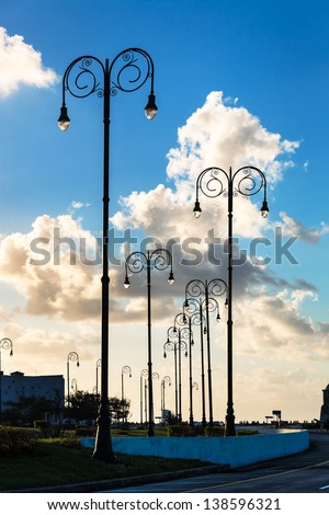 street lights at sunset in Havana - stock photo