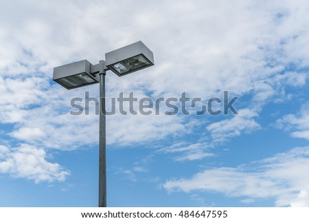 Street lights on white cloud background