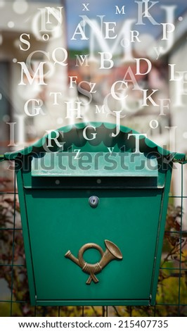 Street mail box with letters comming out - stock photo