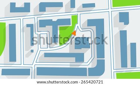 street map GPS navigator long shadows - stock photo