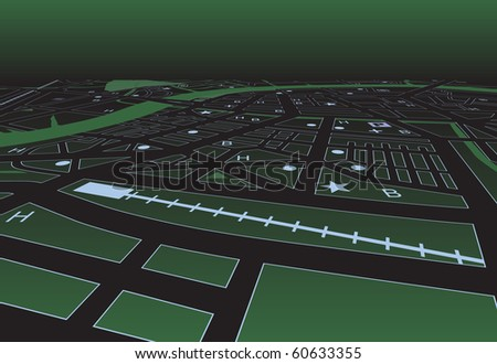 Street map of a generic city at night - stock photo