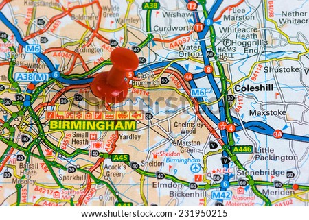 Street Map of Birmingham with red pin - stock photo