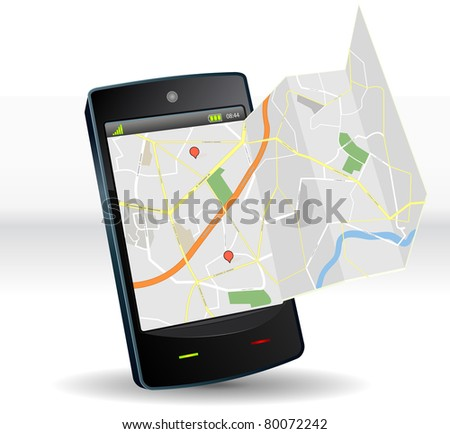Street Map On Smart phone Mobile Device/ Illustration of a smart phone mobile device with funny real-like street map app software.