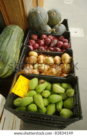 Street Market Daily Products. - stock photo