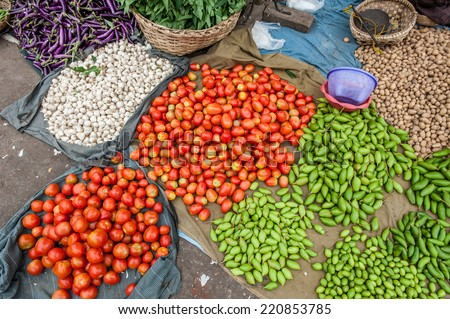 Street market in Mandalay,Myanmar ,with fruits and vegetables. - stock photo
