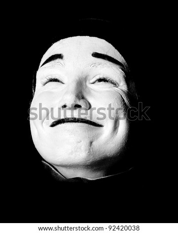 Street mime. Isolated on black. - stock photo