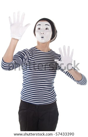 Street mime. Isolated on white. - stock photo