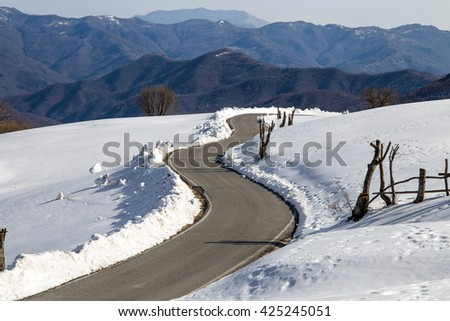 Street mountain in the snow at Casa del Romano Genoa Liguria Italy