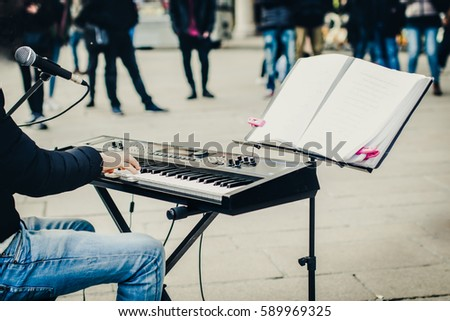 street musician giving a performance