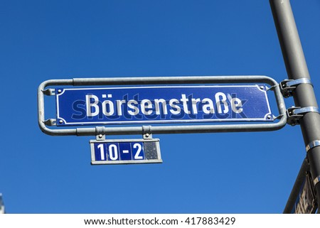 street name stock exchange street under blue sky in frankfurt - stock photo