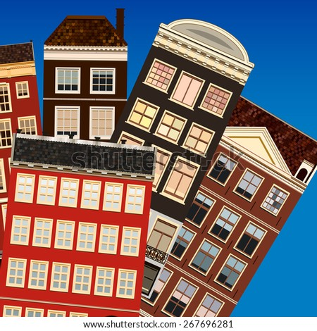 Street of abstract old houses.  - stock photo