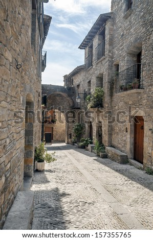 Street of Ainsa with pots situated in the spanish province of Huesca you can see the balconies and blue sky. It�´s a cobbled street in vertical.