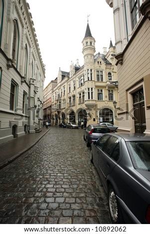 Street of an old European town. Riga, Latvia, Europe. - stock photo