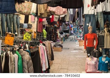 Street of an oriental bazaar - stock photo