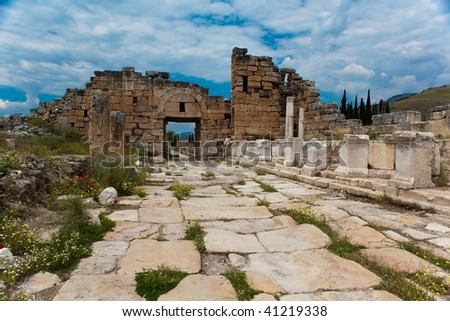 Street of ancient hellenistic city Hierapolis in Turkey