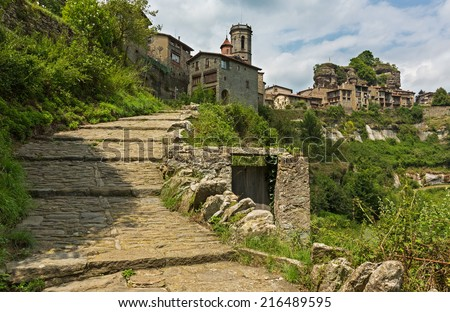 street of old Catalan village in Pyrenees. Rupit, Spain  - stock photo