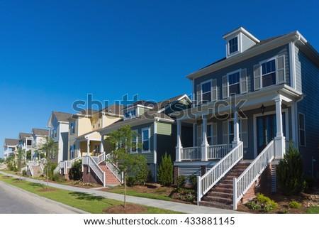 Street of residential houses  - stock photo