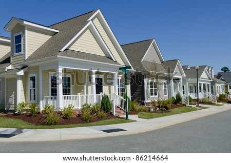 Street of residential houses - stock photo