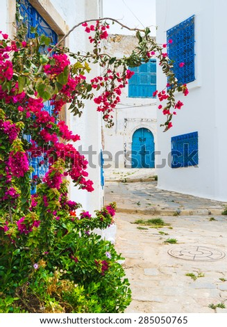 Street of Sidi bou Said in Tunisia. Travel scene - stock photo