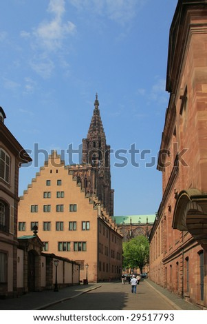 Street of Strasbourg city leading to the cathedrale in France