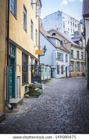 Street of Tallinn Estonia - stock photo