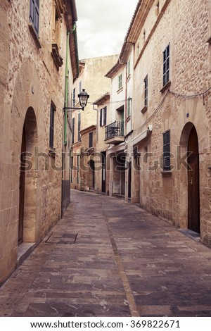 Street of the Alcudia village in Mallorca. Spain