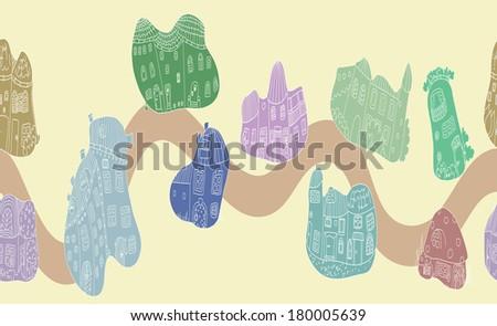 Street of the blob houses - seamless pattern - raster version - stock photo