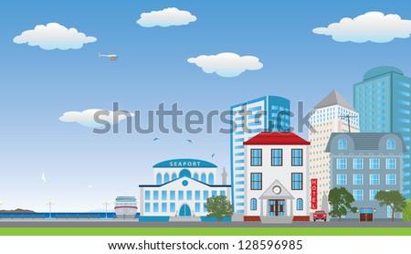 Street of the city. Raster version. Vector in my portfolio - stock photo