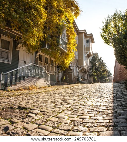 Street of the Cold Fountain or Sogukcesme Sokagi is a small street with historic houses in the Sultanahmet neighborhood of Istanbul, Turkey, between the Hagia Sophia and Topkapi. 19th century style. - stock photo