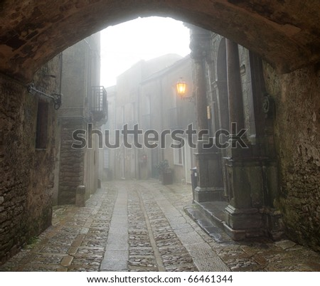 street of the medieval town of Erice - stock photo