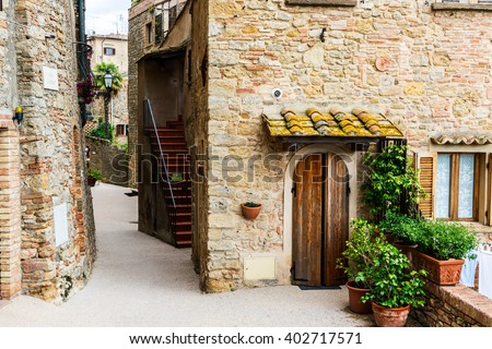 Street of the medieval village Volterra, province of Pisa, Tuscany, Italy