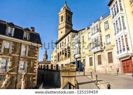 Street of Vitoria, Spain  A sunny day with blue Sky - stock photo